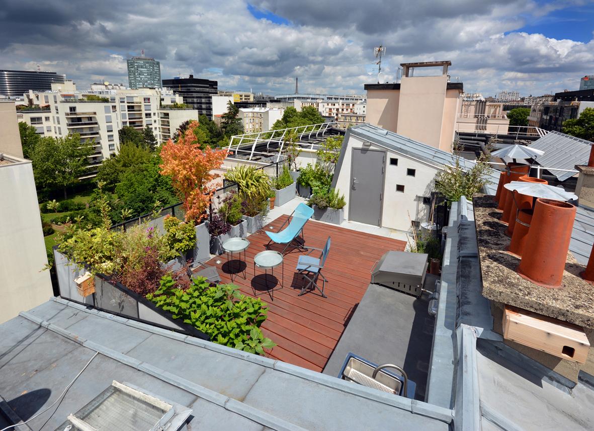 toiture zinc bois composite terrasse paris