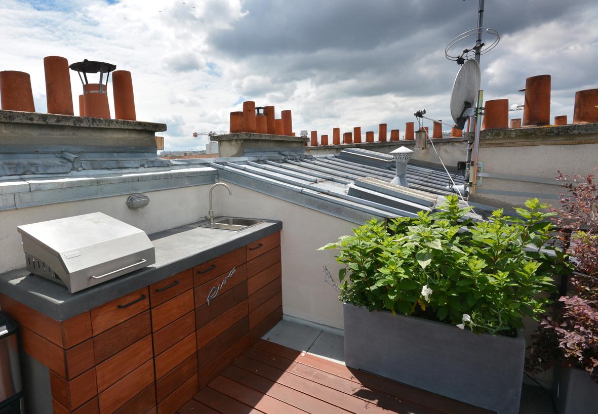 cuisine extérieure toit zinc bois