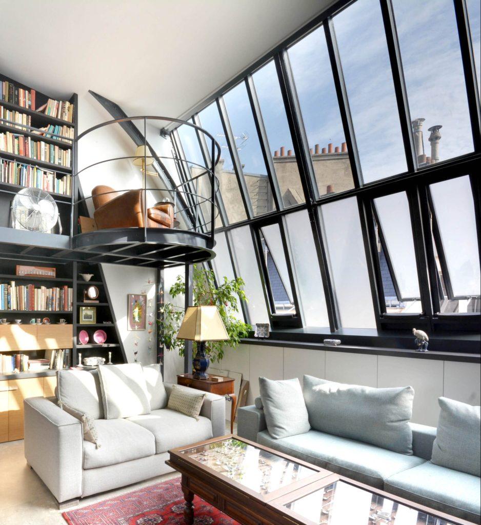 Séjour double hauteur, mezzanine, verrière