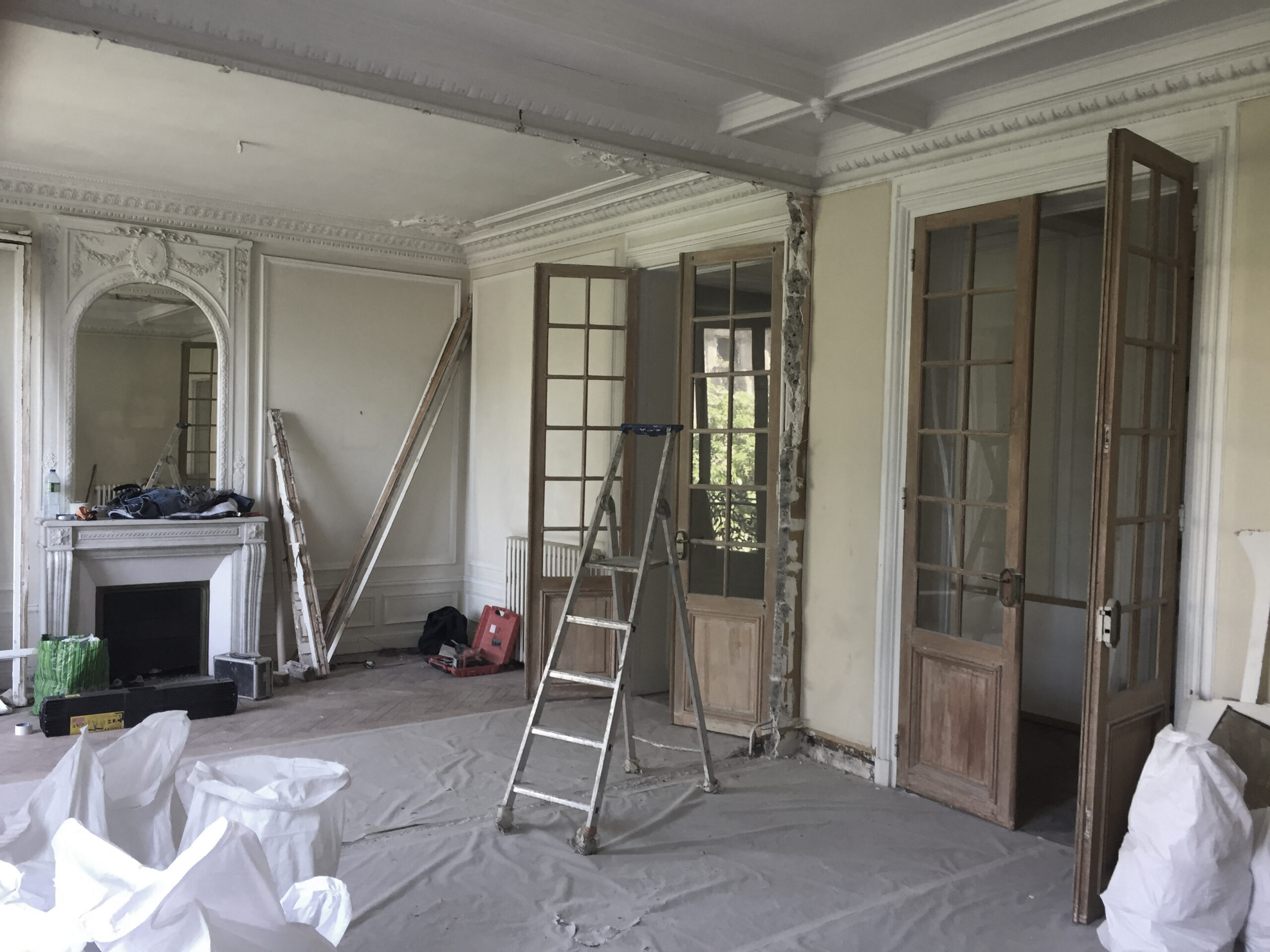 Plan appartement haussmannien salon en travaux