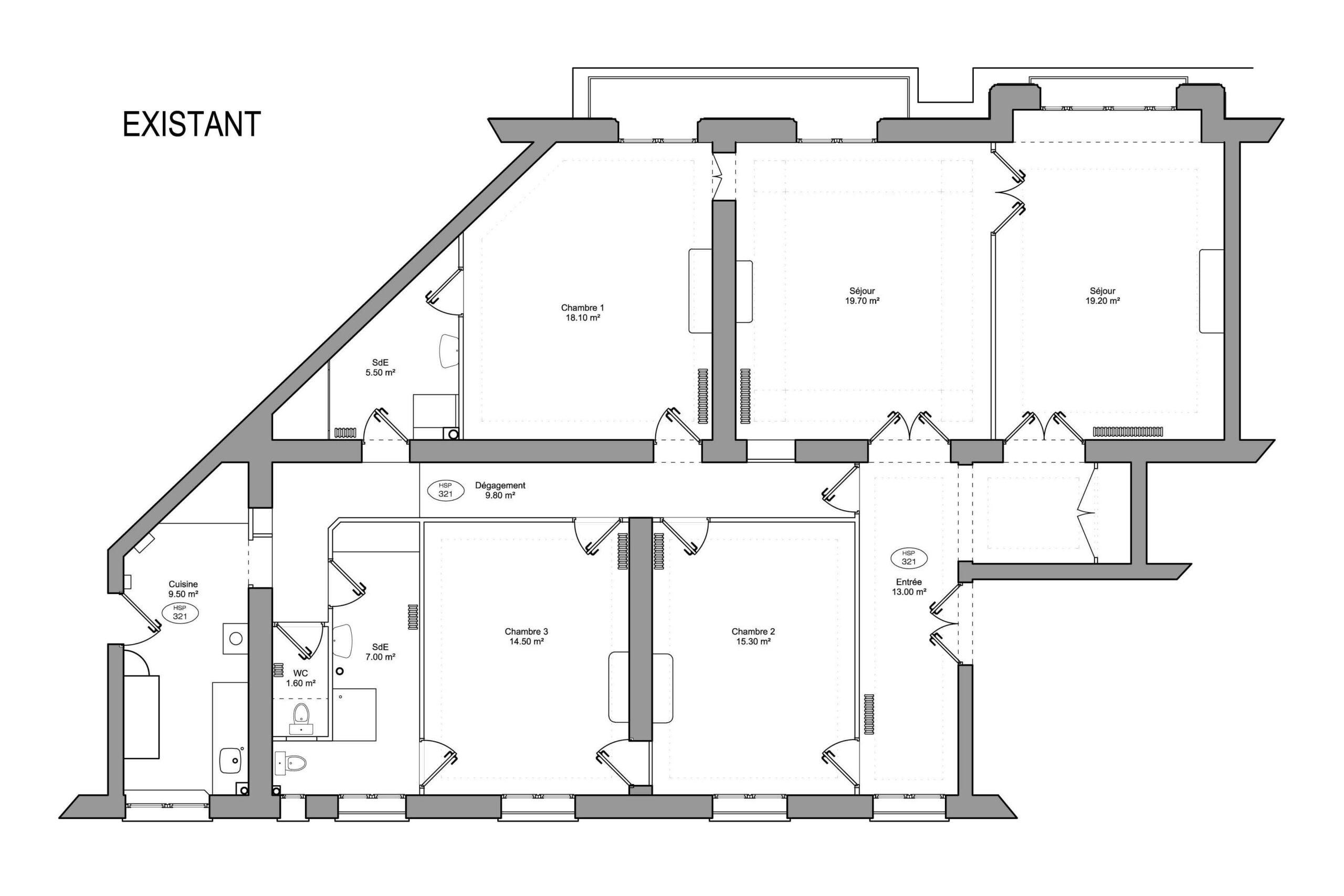 Plan appartement haussmannien existant