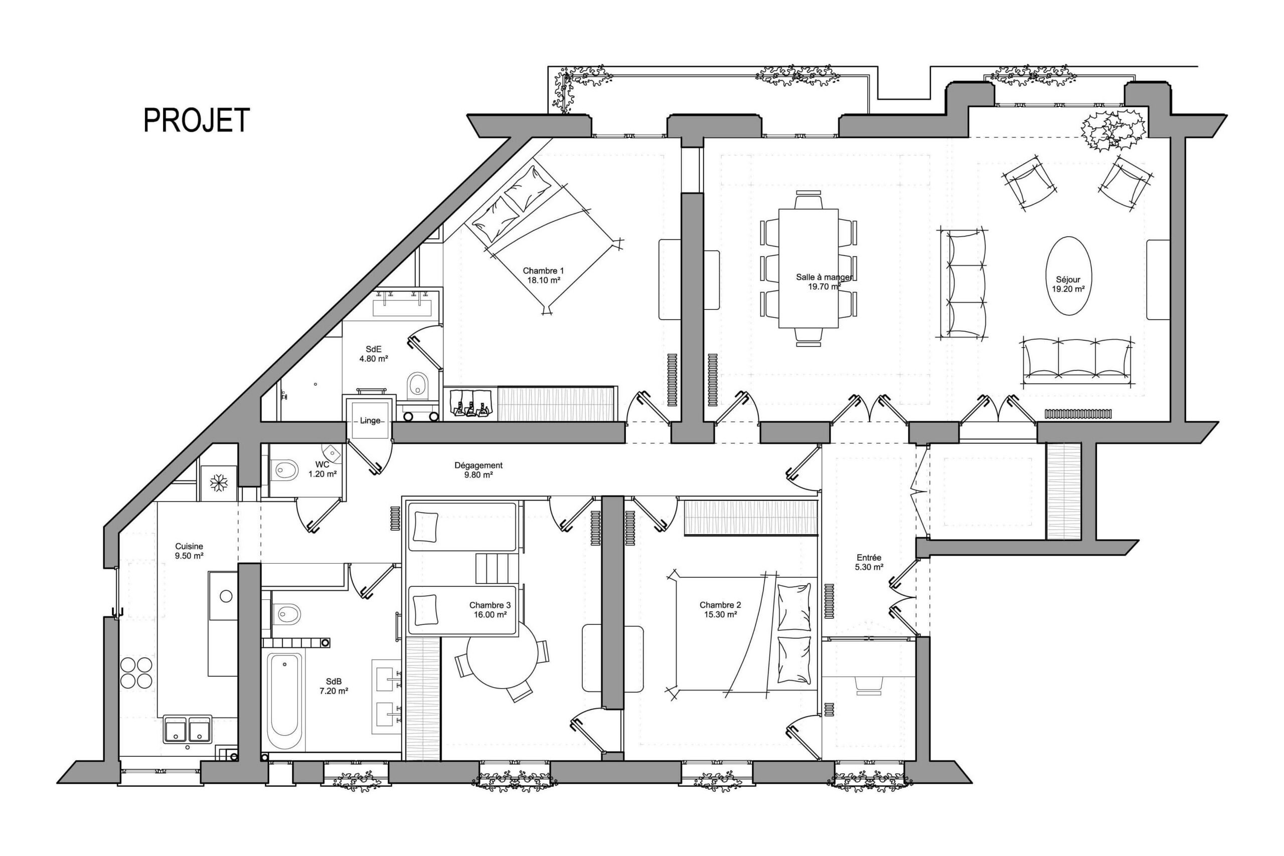 Plan appartement haussmannien projet